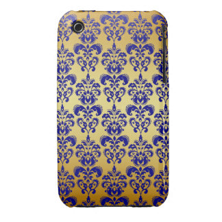 Gold Navy Blue Damask Pattern 2 iPhone 3 Case-Mate Cases