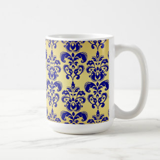 Gold, Navy Blue Damask Pattern 2 Coffee Mug