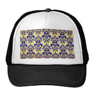 Gold, Navy Blue Damask Pattern 2 Trucker Hat