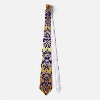 Gold, Navy Blue Damask Pattern 2 Neck Tie