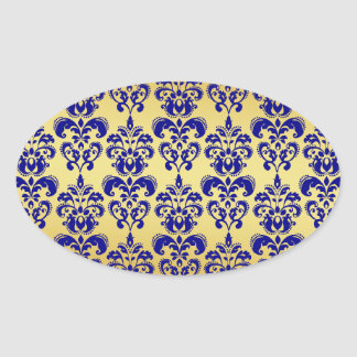 Gold, Navy Blue Damask Pattern 2 Oval Sticker