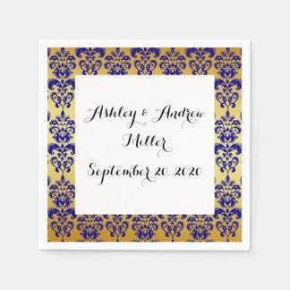 Gold, Navy Blue Damask Pattern 2 Paper Napkin