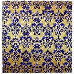 Gold, Navy Blue Damask Pattern 2 Printed Napkin