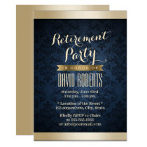 Gold & Navy Blue Damask Pattern Retirement Party Invitation