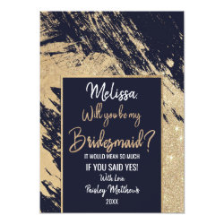 Gold Navy Blue Glitter Brushstrokes Bridesmaid Card