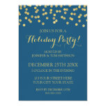 Gold Navy Blue Glitter Confetti Christmas Party Card