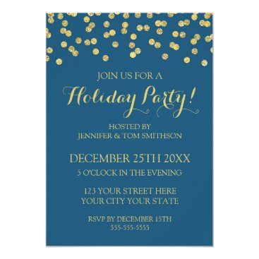 Christmas Themed Gold Navy Blue Glitter Confetti Christmas Party Card