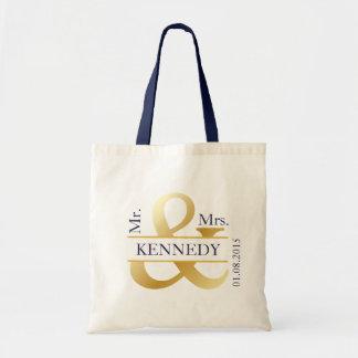 Gold Navy Blue Newly Weds Wedding Favor Budget Tote Bag