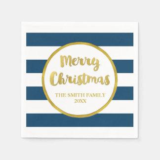 Gold Navy Blue Stripes Merry Christmas Napkin