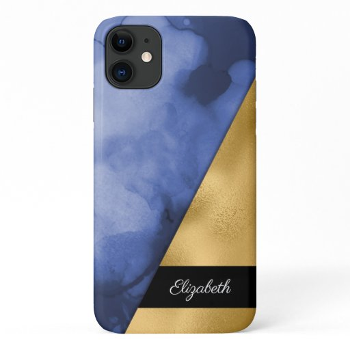 Gold Navy Blue Watercolor Ink Your Name iPhone 11 Case