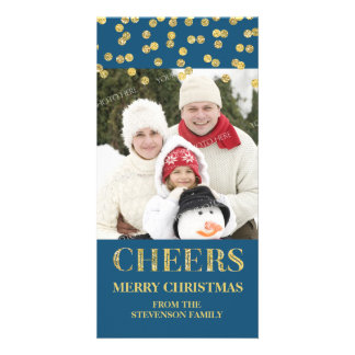 Gold Navy Cheers Merry Christmas Confetti Photo Card