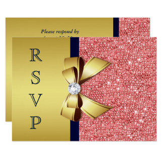 Gold Navy Coral Sequins Diamonds Bow RSVP Card