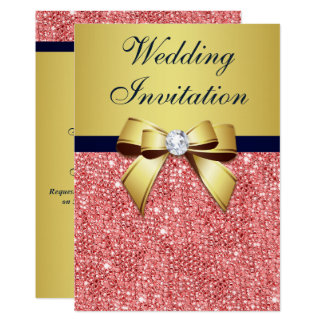 Gold Navy Coral Sequins Diamonds Bow Wedding Card