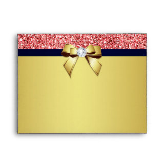 Gold Navy Diamond Bow Coral Sequins for RSVP Envelope