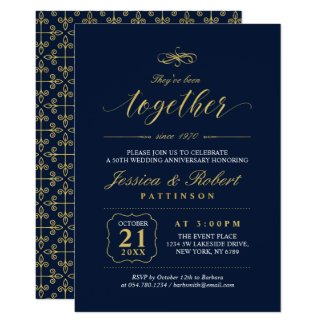 Gold & Navy | Elegant 50th Wedding Anniversary Invitation