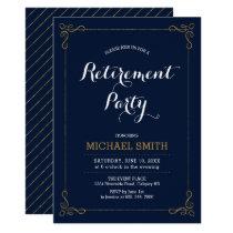 Gold & Navy | Elegant Classy Retirement Party Card