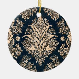 Gold Navy Floral Filigree Pattern Fancy Design Ceramic Ornament