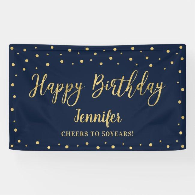 Gold & Navy Happy Birthday Party Banner