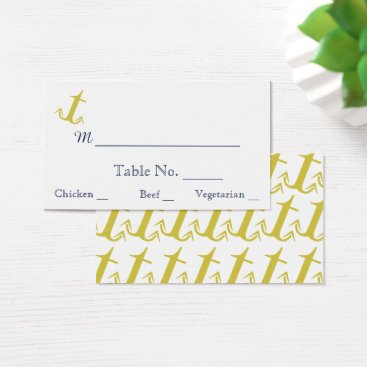 Beach Themed Gold Navy Nautical Anchor Beach Wedding Place Card
