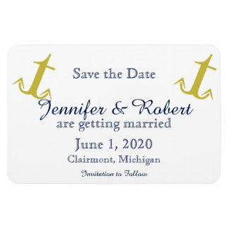 Gold Navy Nautical Anchor Wedding Save the Date Magnet