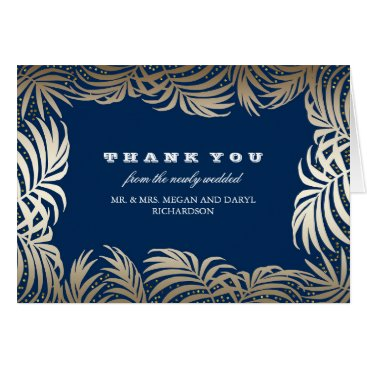 Beach Themed Gold Navy Palms Leaves Beach Wedding Thanks Card