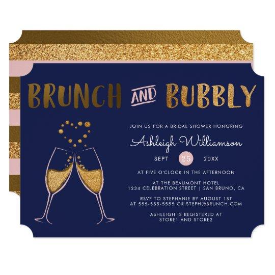 Gold Navy & Pink Brunch & Bubbly Bridal Shower Invitation