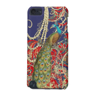 Gold Navy Red Peacock Swirl iTouch Case