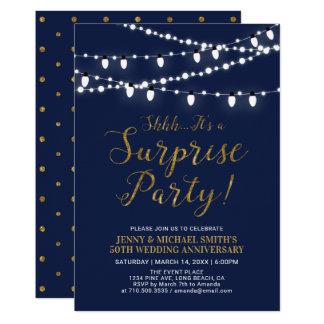 Gold & Navy | Surprise 50th Wedding Anniversary Invitation