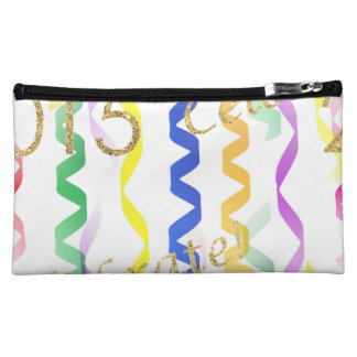 Gold New Year 2015 Multi Party Streamers on White Cosmetic Bag