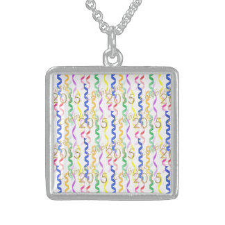 Gold New Year 2015 Multi Party Streamers on White Square Pendant Necklace