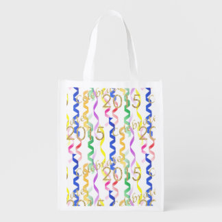 Gold New Year 2015 Multi Party Streamers on White Market Tote