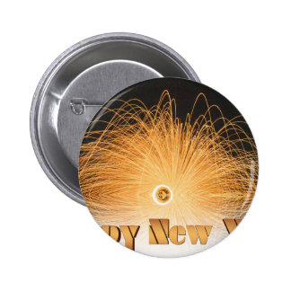 Gold New Year Fireworks Pinback Button
