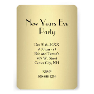 Gold New Years Eve Invitation Card