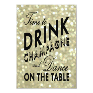 Gold New Year's Time to Drink Champagne Invitation