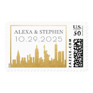 Gold New York City Skyline Destination Stamp