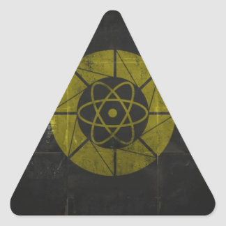 Gold Nuclear Triangle Sticker