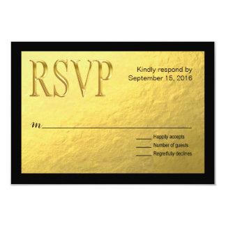 Gold Nugget Faux Foil with Black Outline RSVP Card