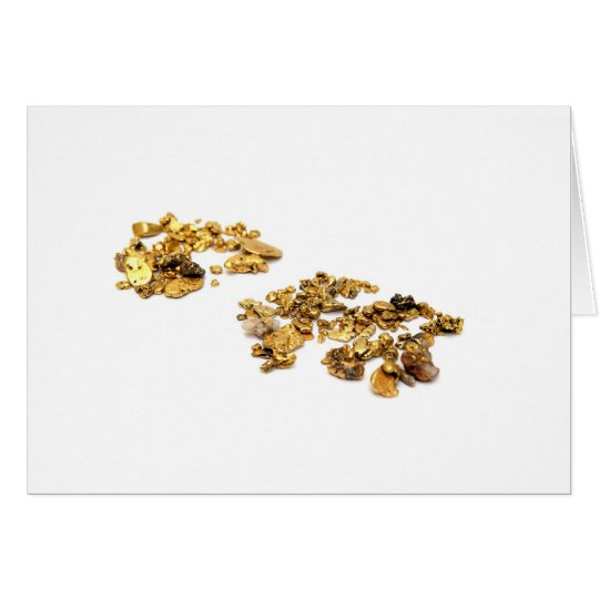 Gold Nuggets On White Card