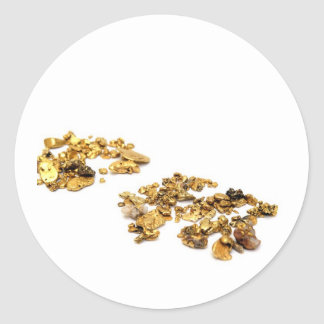 Gold Nuggets On White Classic Round Sticker