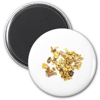 Gold Nuggets On White Magnet