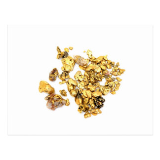 Gold Nuggets On White Postcard