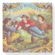 Gold Nuggets Vintage art old west cowboys Stone Coaster
