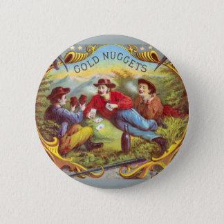 Gold Nuggets Vintage Cigar Label Button