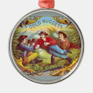 Gold Nuggets Vintage Cigar Label Metal Ornament