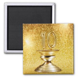 Gold Number 10 Trophy 2 Inch Square Magnet