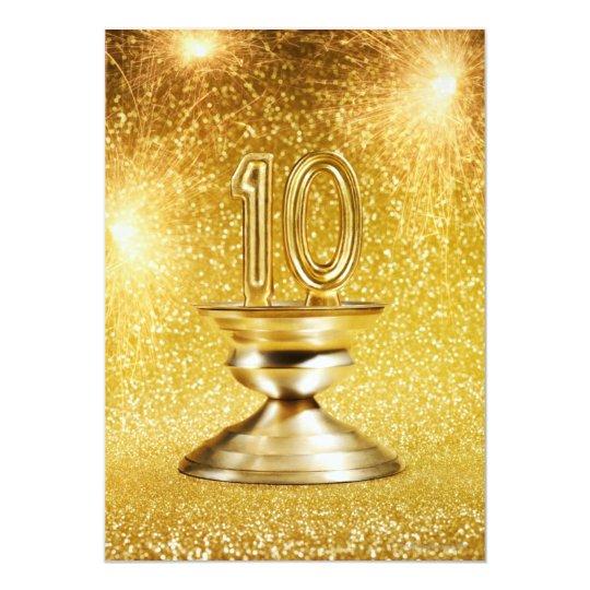 Gold Number 10 Trophy Card