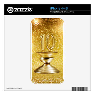 Gold Number 10 Trophy Decal For The iPhone 4