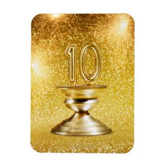 Gold Number 10 Trophy Rectangular Photo Magnet