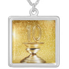 Gold Number 10 Trophy Silver Plated Necklace