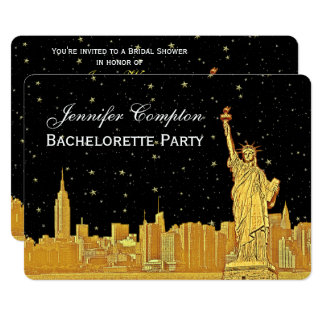 Gold NYC Skyline #2 Black Starry BGH Bridal Shower Card